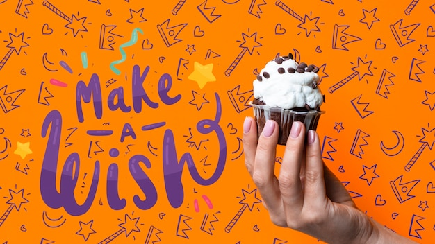 Make a wish message with cake for birthday party