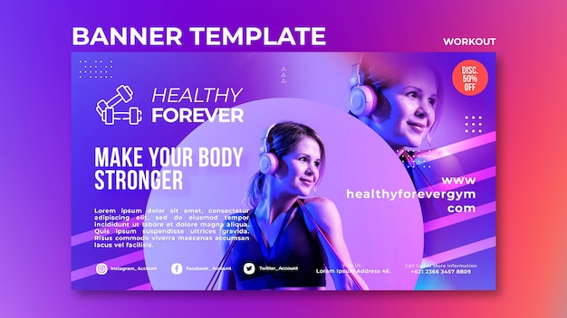 Make your body stronger banner template
