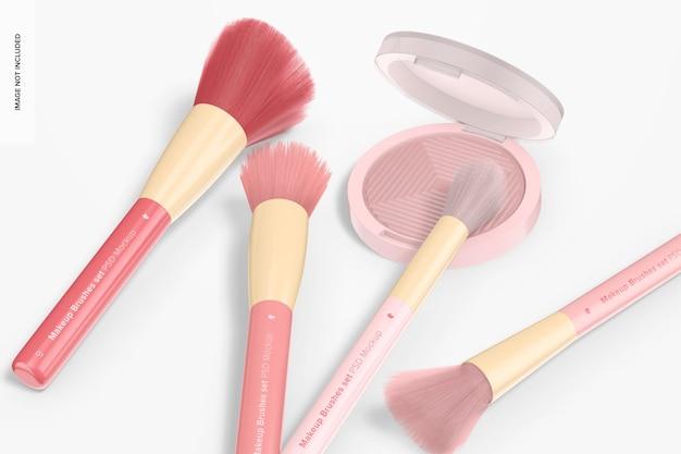 Набор кистей для макияжа с мокапом теней для век