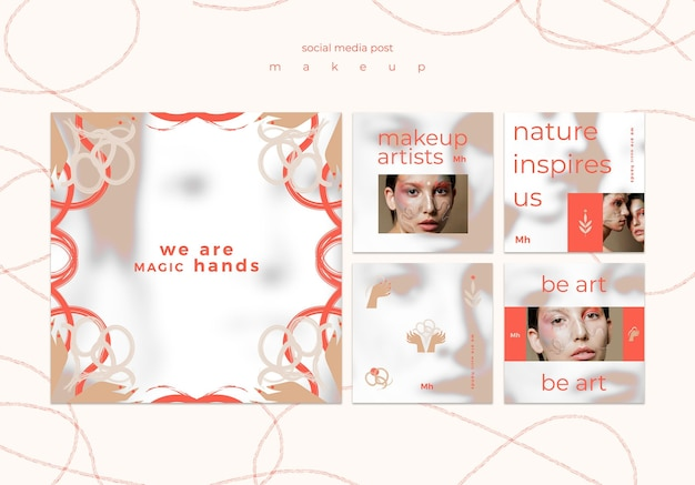 Makeup concept social media post template