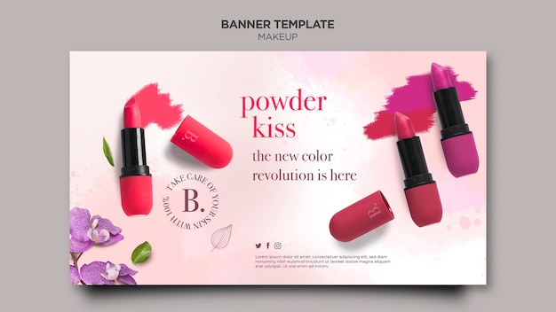Makeup horizontal banner template design