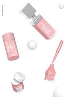 Makeup jars scene mockup, falling