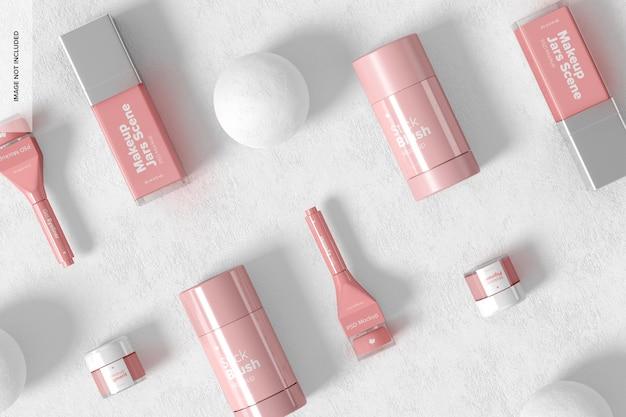 Makeup jars scene mockup