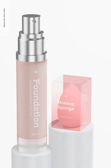 Makeup sponge with foundation mockup