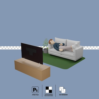 Male cartoon character lay down on sofa watching television
