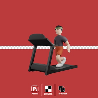 Male cartoon character running on treadmill isolated