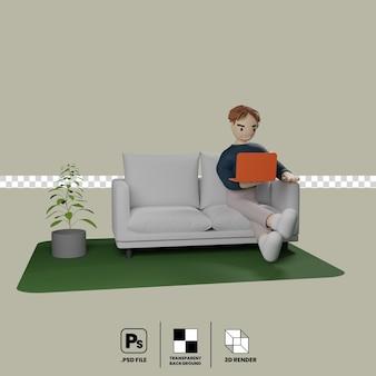 Мужской мультипликационный персонаж сидит на диване с помощью ноутбука