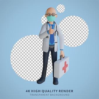 마스크를 쓴 남자 의사가 보드 3d 캐릭터 일러스트와 함께 제시