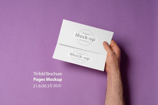 紫のテーブルに空白のページが3つ折りパンフレットを保持している男性の手