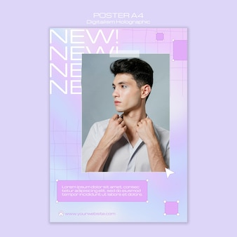 Male model looking away digitalism holographic flyer template
