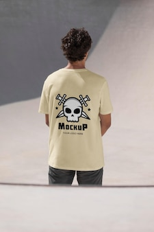 Male skateboarder with mock-up t-shirt
