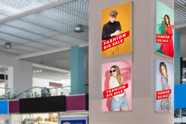 Mall advertising mock-ups long view