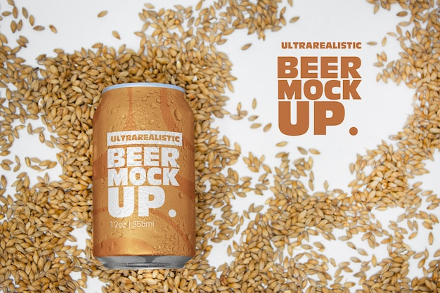 Malt beer can logo mockup