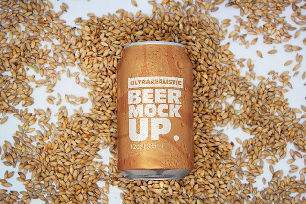 Malt beer can mockup