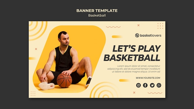 Man and basketball banner web template