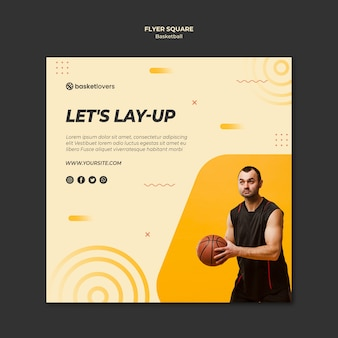 Man and basketball square flyer template
