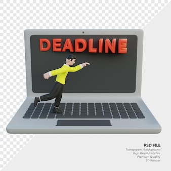 Man character is being chased by a deadline on the laptop 3d rendered