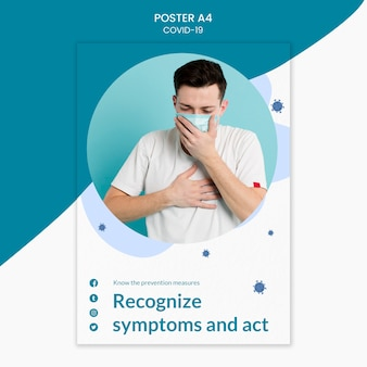 Man coughing in a surgeon mask covid-19 poster