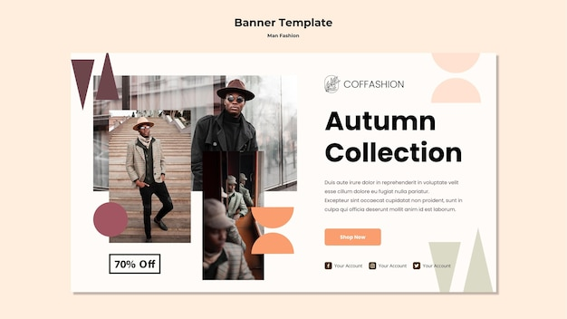 Man fashion concept banner template