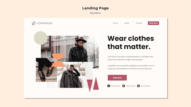 Man fashion concept landing page template
