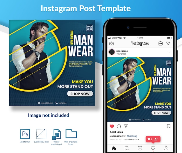 Man fashion sale offer social media post template