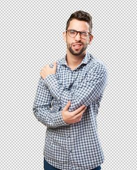 Man having a shoulders ache