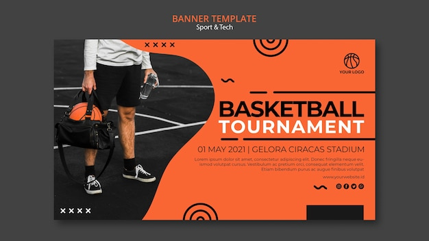 Man holding a basketball in his bag banner template