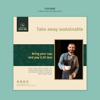 Man holding cup of coffee square flyer template