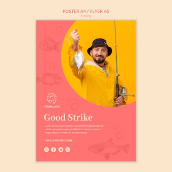 Man holding a fish poster template