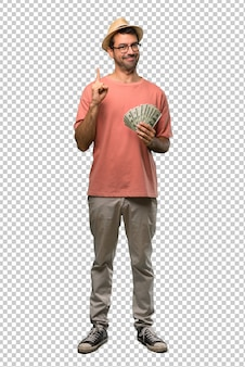 Man holding many bills showing and lifting a finger in sign of the best