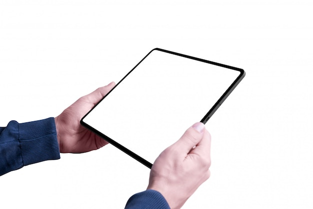 Man holding tablet with isolated and screen for mockup