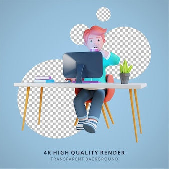 A man is working in front of a computer drinking coffee high quality 3d render