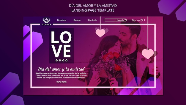 Man kissing his girlfriend landing page template