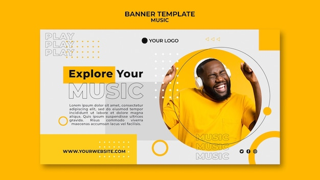 Man listening music banner web template