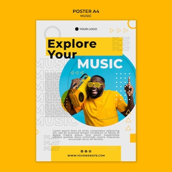 Man listening to music poster template
