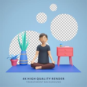Человек медитирует и занимается йогой дома, оставаясь дома, иллюстрация высокого качества 3d-рендеринга