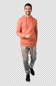 Man in a pink sweatshirt walking. motion gesture