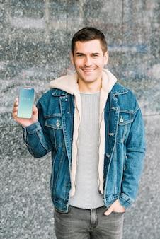 Man presenting smartphone mockup