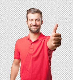Man in red shirt doing thumbs up