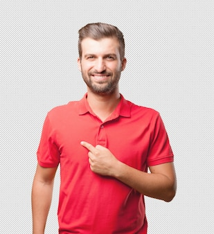 Man in red shirt pointing at himself