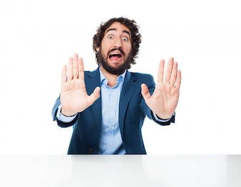 Man saying  stop  with his hands