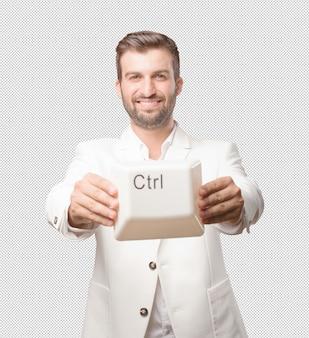 Man showing ctrl key