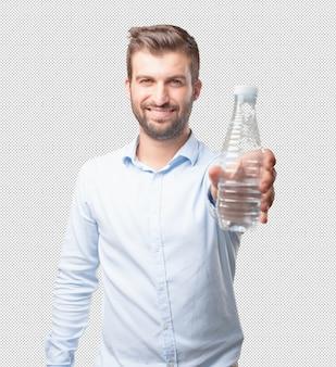 Man showing water bottle
