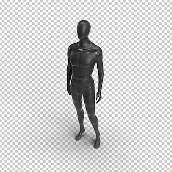 Man silhouette in shape of black mannequin body