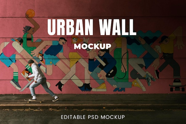 Man skateboarding under a bridge with urban wall design space