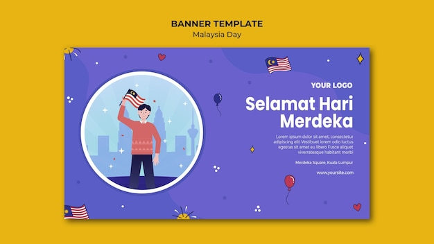 Man standing and holding malaysian flag banner web template