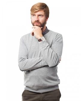 Man stroking his beard
