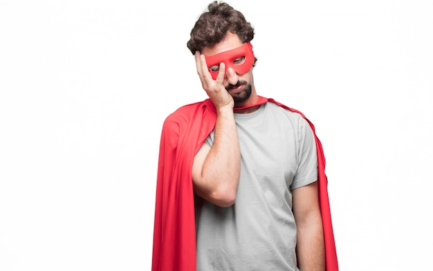 Man in superhero dress dissapointed