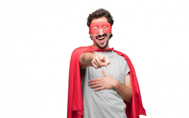Man in superhero dress pointing and laughing