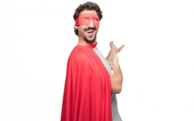 Man in superhero dress presenting concept